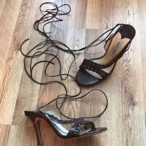 Jimmy Choo strappy lace up whip stitch sandals